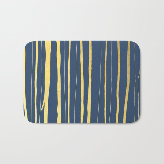 Vertical Living Navy and Gold Bath Mat