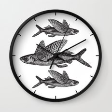 Flying Fish   Black and White Wall Clock