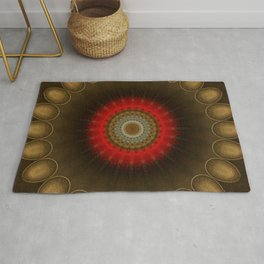 Mandala in brown, red and golden tones Rug