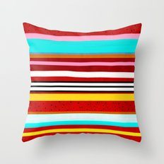 Watermelon Red Striped Colors Throw Pillow