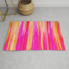 Welcome to Funky Town - Disco Inferno Dance Party Bold Rainbow Stripes Abstract Watercolor Painting Rug