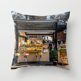 Fruit stall, Old Spitalfields Market in London Throw Pillow