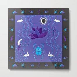 Egyptian Design - Purple Black Metal Print