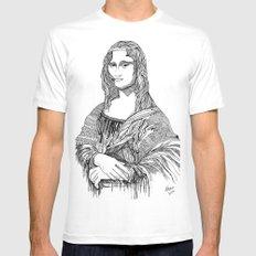 Mona Lisa White Mens Fitted Tee MEDIUM
