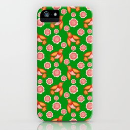 swallows birds with spread wings and dusty pink blooming roses seamless vintage retro green pattern iPhone Case