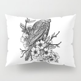 Finch on cherry branch Pillow Sham