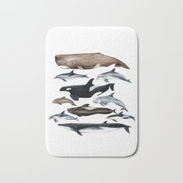 Atlantic whales, dolphins and orca Bath Mat