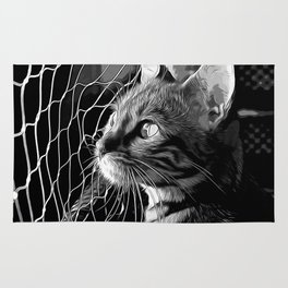 bengal cat yearns for freedom vector art black white Rug