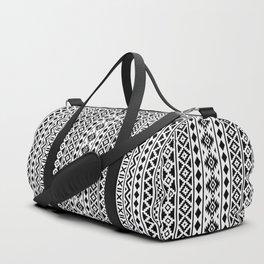 Aztec Essence Pattern Black on White Duffle Bag