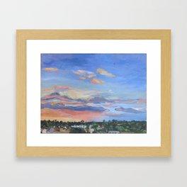 Sunset, Houston, TX, oil on canvas, 46 x 61 cm, 2016 Framed Art Print