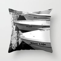 boats Throw Pillows featuring boats by habish