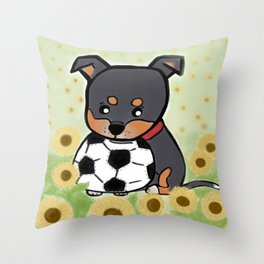 Charlie pup, Black Terrier pup Throw Pillow