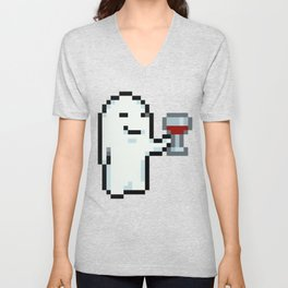 Wine Drinking Ghost - Mother 3 Unisex V-Neck