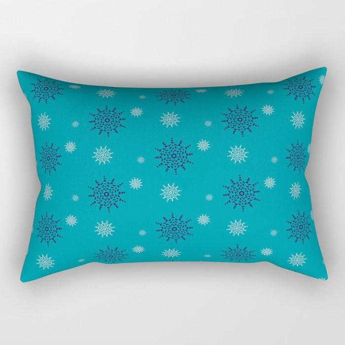 Blue and White Snowflakes Rectangular Pillow