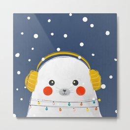 Christmas Baby Seal with fairy lights Metal Print