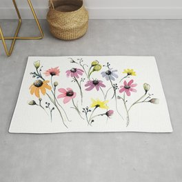 Colorful  Daizy Flower Rug