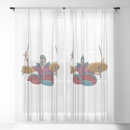 Rock Music Drummer Whirling Sticks Sheer Curtain