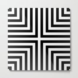 Simple Geometric Cross Pattern- White on Black -Mix & Match with Simplicity of life Metal Print