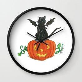 Pirate-Bat-Cat { + Pumpkin Pal Jack O Lantern . Halloween }   Wall Clock