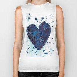 Splattered blue heart Biker Tank
