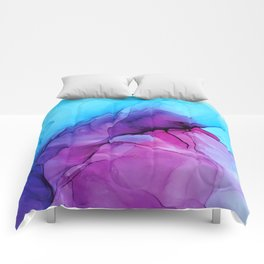 Aqua Pop - Alcohol Ink Painting Comforters