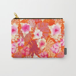 Tropical Print in Living Coral Carry-All Pouch