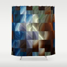 Metal Squares Shower Curtain