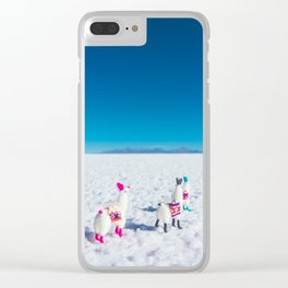 Llamas looking into the distance on the Salt Flats, Bolivia Clear iPhone Case