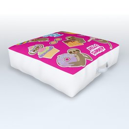 Hello Summer bright tropical patches stickers. Kawaii cute sloth collection Outdoor Floor Cushion