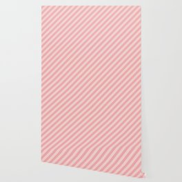 Classic Blush Pink Glossy Candy Cane Stripes Wallpaper