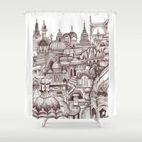 india Shower Curtains featuring Jaipur, India by Justine Lecouffe