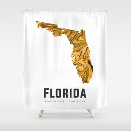 Florida - State Map Art - Abstract Map - Brown Shower Curtain