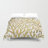 coral Duvet Covers featuring Gold Coral by Cat Coquillette