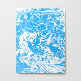 Suminagashi blue and white 2 marble spilled ink ocean swirl watercolor painting Metal Print