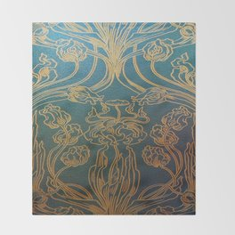 Art Nouveau,teal and gold Throw Blanket