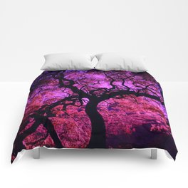 Under the Tree in Pink and Purple Comforters
