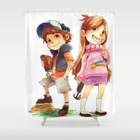 gravity falls Shower Curtains featuring Gravity Falls by Archiri Usagi