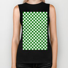Small Checkered - White and Green Biker Tank
