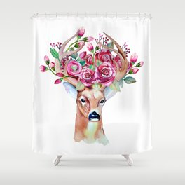 Shy watercolor floral deer Shower Curtain