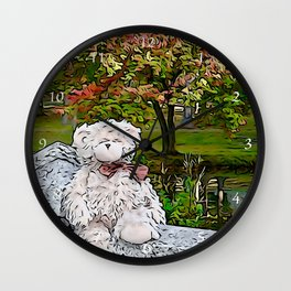 Teddy bear by the pond in autumn Wall Clock