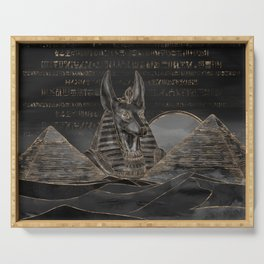 Anubis on Egyptian pyramids landscape Serving Tray