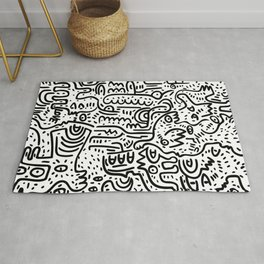 Street Art Graffiti Love Black and White Rug