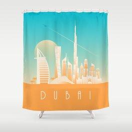 Dubai City Skyline Retro Art Deco Tourism - Day Shower Curtain