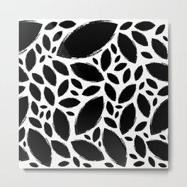 Painted Tree Leaves Black & White Metal Print
