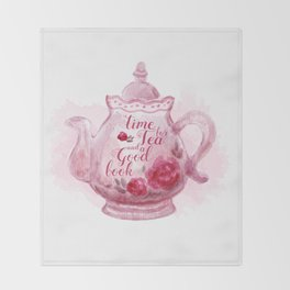 Time for tea and a good book Throw Blanket