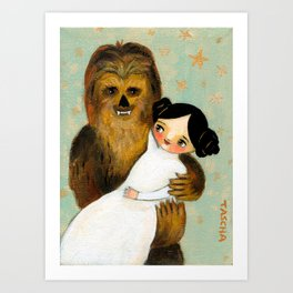 Princess Leia and Chewbacca painting by tascha parkinson Art Print
