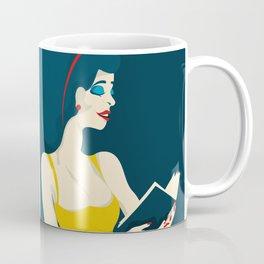 the reading woman in yellow dress Coffee Mug