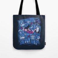 chihiro Tote Bags featuring Chihiro in Spiritland by Hoborobo