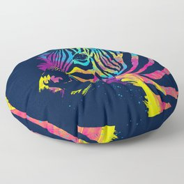 Zebra Splatters Colorful Animals Floor Pillow