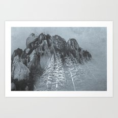 Mountains - Black and White Trees at the Peak Art Print